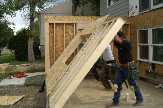 Erection of Wood-Framed Exterior Wall